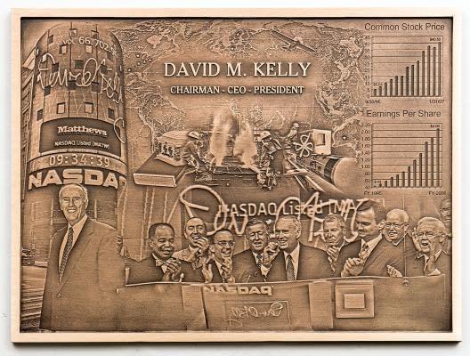 photo plaque of David Kelly chairman with NASDAC staff
