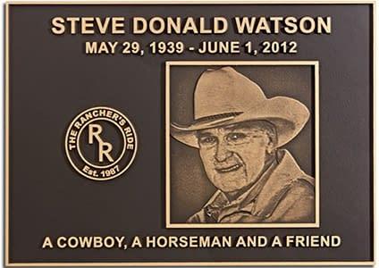 Bronze memorial plaque with photo relief dedicated to Steve Donald.