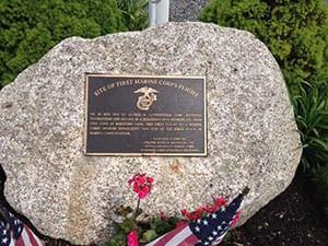 Memorial boulder with USMC Plaque