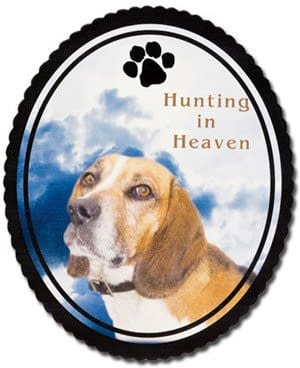 Hunting in heaven memorial plaque with a picture of dog